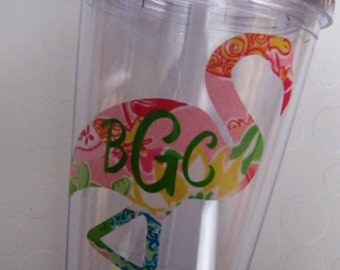 Monogrammed Flamingo Insulated Tumbler