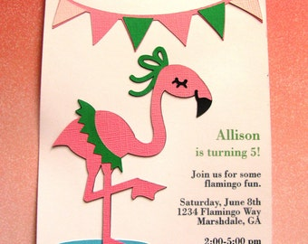 "Flamingo ""Let's Flamingle"" Party Invitations - Set of 8"