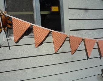 Oilcloth Happy Banner in Orange Gingham