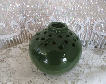 Ceramic Flower Frog- 30- Hole- Green - Flower Holder - Kellogg Pottery/ Petoskey Michigan ~ Flower Frog - Vase/Flower Frog Green