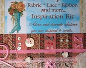 Lil' Sampler Fabric Ribbon Lace   Doll Clothes Sewing Crafts  Inspiration Kit  Fabric Sewing Supplies