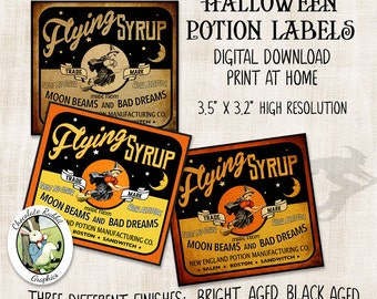 Halloween Potion Bottle Witch Apothecary Label Vintage Style Digital Download Printable Clip Art Graphics Image Scrapbook Tag Transfer