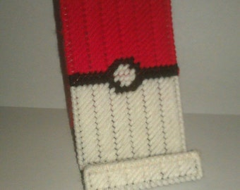 Handmade Pokeball Cell Phone or Ipod Holder Plastic Canvas