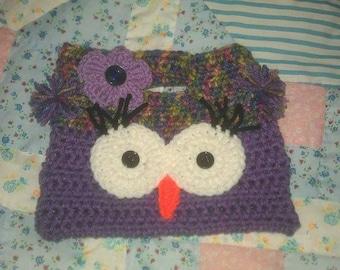 Handmade Crochet Owl Purse Medium Purple and Artist Print Color