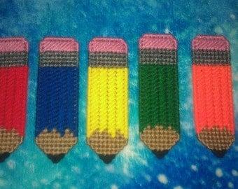 5 Handmade Pencil Magnets.....Plastic Canvas