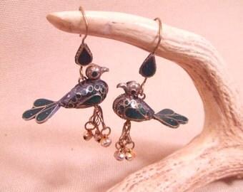 Tribal Bird brass hook earrings -- old Kuchi jewelry -- heavy patina