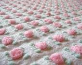 Morgan Jones Pink Rosebud Vintage Cotton Chenille Bedspread Fabric 12 x 24 Inches