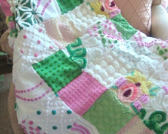 "CUSTOM ORDER QUILT Sample - ""Island Orchids"" Vintage Cotton Chenille Patchwork  Quilt"
