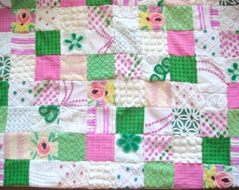 ISLAND ORCHIDS ~ a Made-to-Order Vintage Cotton Chenille Patchwork  Quilt