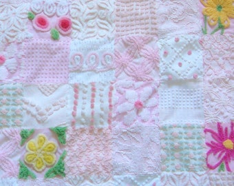 SWEET SLEEPY SADIE - Made-to-order Handmade Vintage Cotton Chenille Patchwork Quilt 35 x 36 Inches