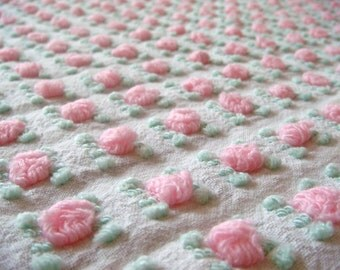 Morgan Jones Pink Rosebud Vintage Cotton Chenille Bedspread Fabric 12 x 24 Inches