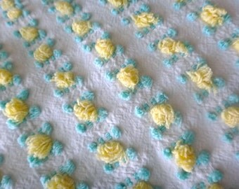 Vantona Yellow Rosebud Vintage Cotton Chenille Bedspread Fabric 6 x 25 Inches