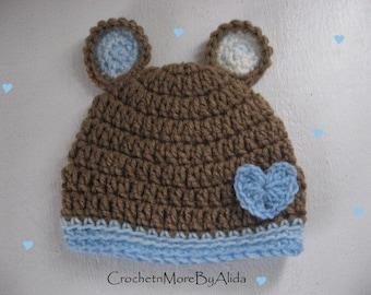 Crochet baby boy hat,  0 to 3 months, boy hat,  Crochet hat Boy,  photo prop, hat baby boy, Baby Bear Beanie, Baby boy gift