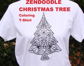 Christmas Tree Graphic Tee READY TO COLOR Zendoodle Adult Coloring T Shirt White Unisex T-Shirt Original Drawing Transfer Great Holiday Gift