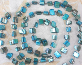 """Beaded Chain Turquoise Sea Shell Beads with Silver Tone 38"""" long Great for multi-stand (M154)"""