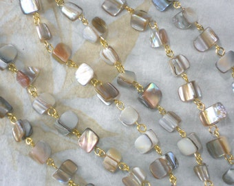 "Chain Sea Shell Beads Natural with Gold Tone Chain 38""  Great for multi stand (M150)"