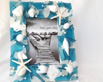 """Beach Decor Frame, Sea Glass Frame, Nautical Decor Beach Glass Frame, Seashell Frame, Shell Frame, Seaglass Frame - Aqua Teal 5x7"""""""