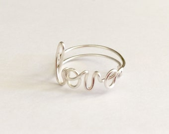 Adjustable silver plate Love wire ring,  handmade wire rings