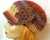 Crochet Womens Hat, Newsboy, Multi color, Very Soft Wool Blend, Flower, Warm, Teens, Winter, Ski Hat, JE111NF2