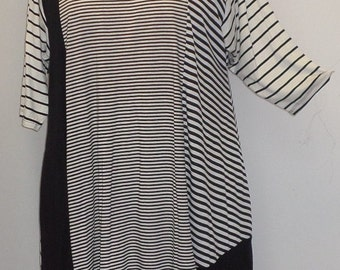 Plus Size Top, Asymmetric Tunic Top, Women Tunic, Coco and Juan, Multi Stripe #7 Knit Size 1 (fits 1X,2X)  Bust 50 inches