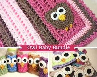 Crochet PATTERN - Owl Baby Bundle - 3 Patterns - Blanket, Hat, Cozy