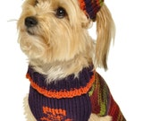 Dog Sweater with Knit Hat Skull and Crossbones Sizes XXS to Large