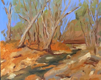 Watching the river flow oil painting