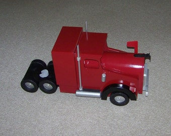 Red And Black  Semi Truck Mailbox