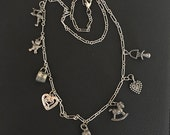 ON SALE Vintage Charm Necklace 8 Charms Sterling Heart