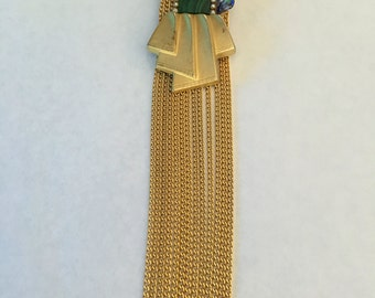Assembled Jeweled  Pearl Brooch with Tassels