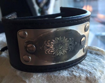 Etched silver and leather cuff with corset lace closure