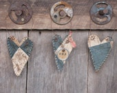Primitive Quilted Heart Ornaments