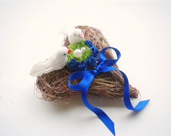 Love Nest Ring Bearer Pillow, White Dove Birds, Nature Heart, Rustic Weddings Party, Navy Blue Ring Pillow, Magenta Cobalt Blue Ring Pillow