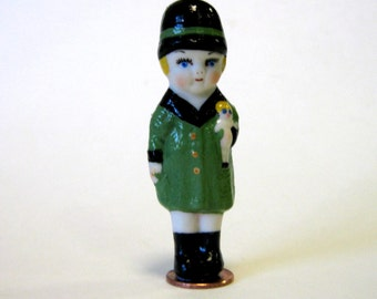 "Penny doll 3"" lady cast in porcelain from a vintage mold and dressed in green"