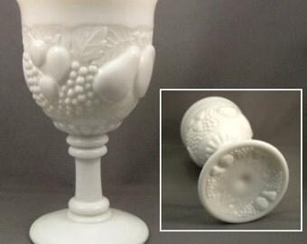 Vintage Goblet Westmoreland Della Robbia Fruit Pattern White Wedding