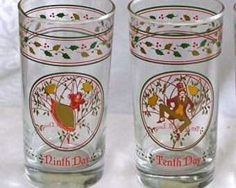 Vintage Christmas Glasses 12 Days of Christmas Anchor Hocking Set of Any Two Available