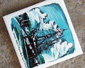 Vintage Tile Trivet Ship Mystic Seaport Whaleship Connecticut Ceramic Aqua Blue