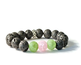 Essential Oil Diffuser Bracelet, Pink and Green with Natural Lava Stones, Aromatherapy Jewelry
