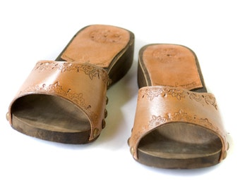 Woden Tooled Leather Clogs - Bohemian Leather Clogs - Made to Order in Your Size