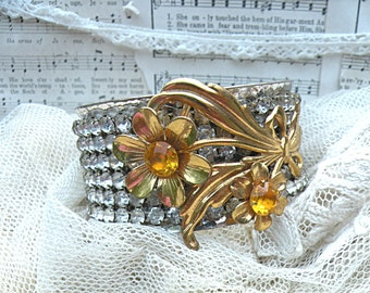 upcycle rhinestone cuff winter floral collage bracelet upcycled vintage jewelry brooch