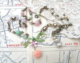 muguet necklace lily of the valley assemblage pink rose spring  maycottage chic cameo petite