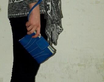 Women iPhone 7 Wallet, royal snorkle blue wristlet wallet, ladies leather wallet, iphone 6 clutch wallet, travel wallet, autumn colors