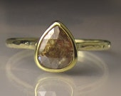 Rose Cut  Diamond Engagement Ring, Rose Cut Diamond Ring, 18k and 14k Gold