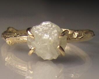 Raw Diamond Engagement Ring, 14k Yellow Gold Rough Diamond Twig Ring, White Raw Diamond Ring, 1.85CTS
