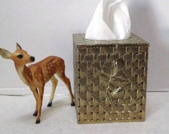 Reduced Vintage Tissue Box Gold Metal Basketweave Strawberry Vanity Dresser Organizer Shabby Chic Florentine Bridal Boudoir Tissue Regency