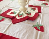 Vintage Strawberry Table Cloth and Napkins