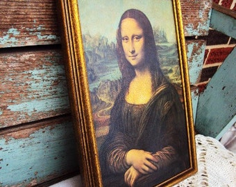 Vintage Mona Lisa Canvas Print Picture Art Work Neoclassical Wood Frame Framed Mid Century Hollywood Regency Decor
