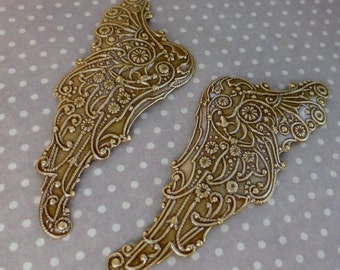 2 pcs Vintaj Brass, filigree, component Mythical Wing