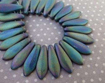 free uk postage Strand of 50 glass beads - 2 hole Dagger Beads Matte Iris Green DGR2-516-21155JT