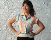 RESERVED SALE Vintage 1970s Plaid Hippie Summertime Fashion Shirt M/L